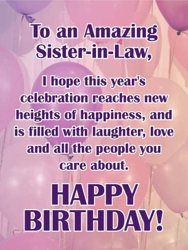 Wishing You Happiness Happy Birthday Card For Sister In Law This