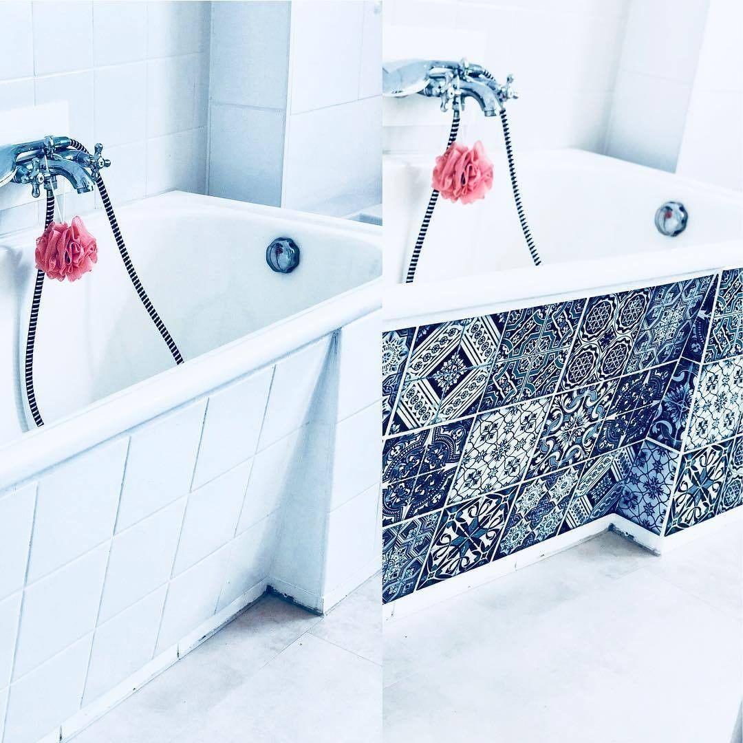 Vorher Nachher Bild Im Badezimmer Danke An Jean Fur Die Inspiration Und Die Tolle Umsetzung Badewanne Fli Bad Design Fliesenaufkleber Badezimmer Renovieren
