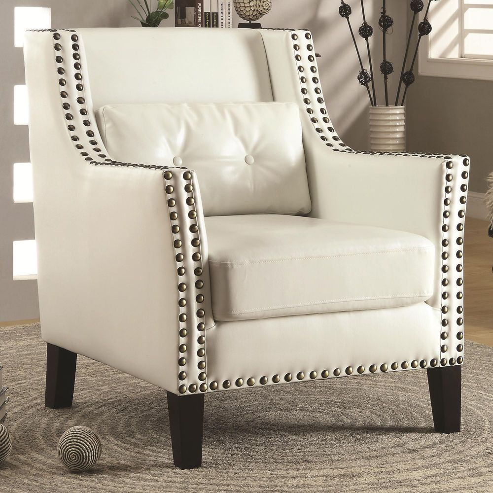COASTER ACCENT CHAIR, w/ Pillow, White, Leather, Nailhead Trim, SALE ...
