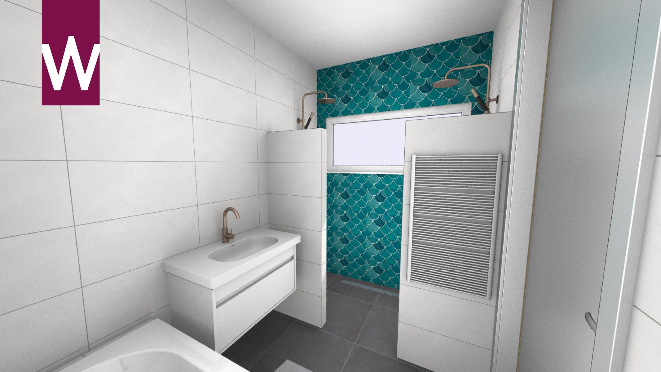 Simpel Pure Badkamer : Complete badkamer met bad twee douches en opvallende muur d