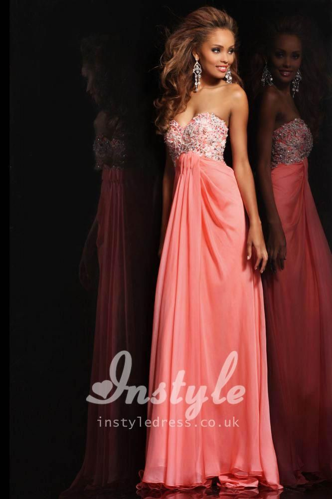 6ae1c1755f7c Strapless Coral Chiffon Long Prom Dress with Sweetheart Neckline and Beaded  Bodice. fav