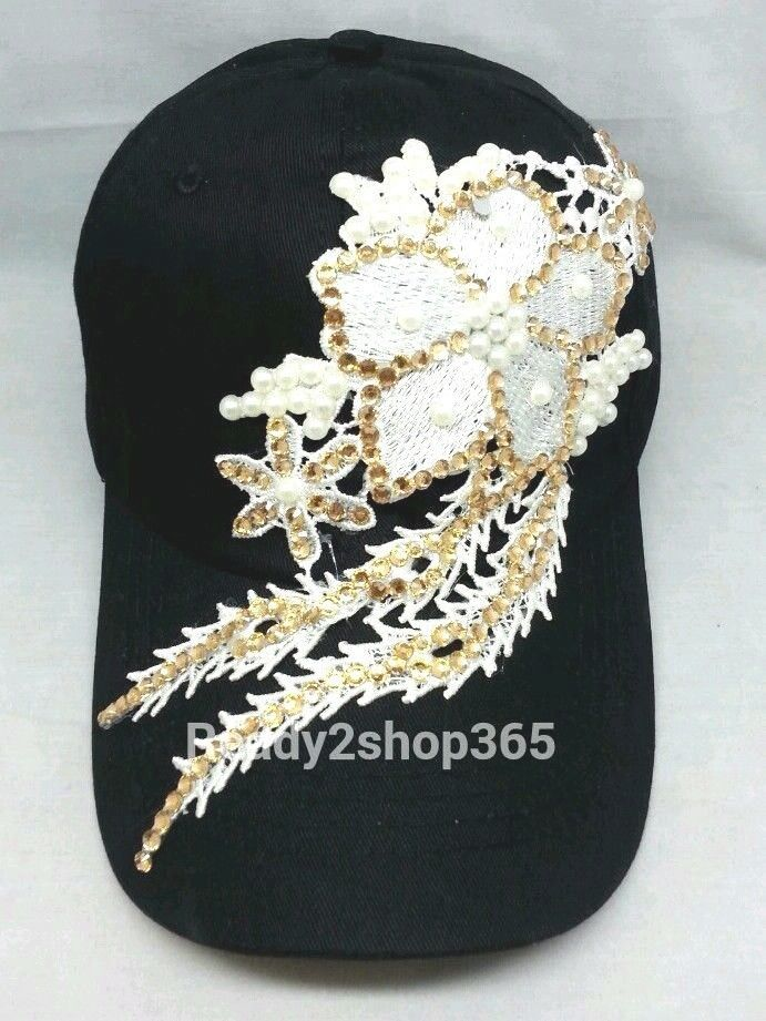 Women girls teens rhinestone baseball style hat. Sparkly bling bling  studded bill with 8346c897374
