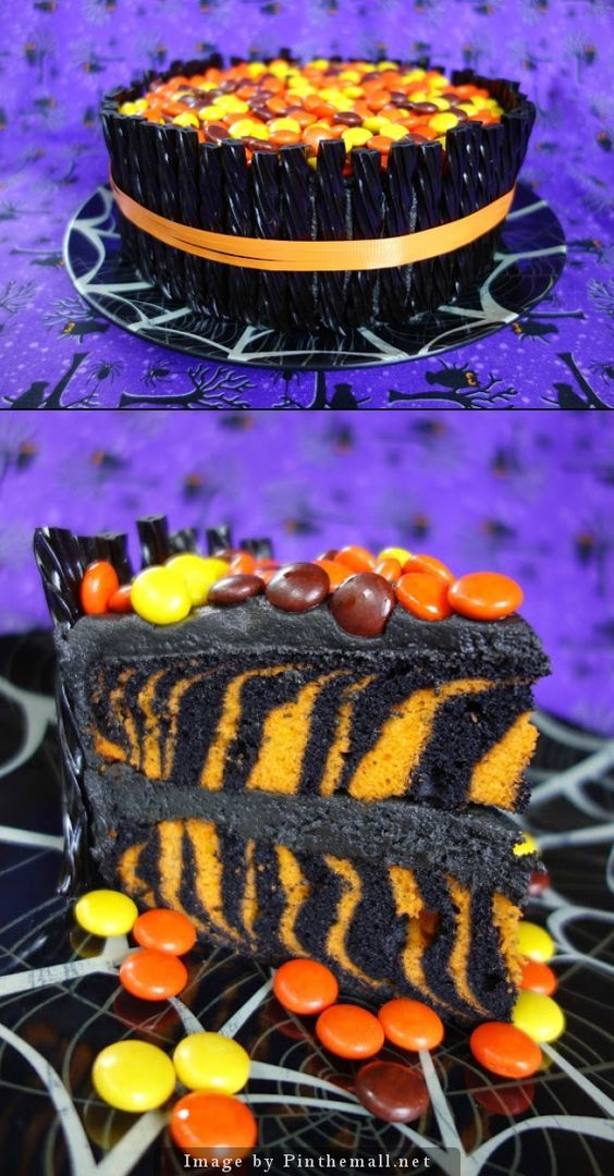 spooktacular halloween cake orange and black zebra cake surrounded with black licorice and topped with reeses pieces use cake mix for a quick and festive