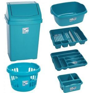 Accessories 6 Pc Kitchen Bin And Basket Set Teal Ebay Co Uk