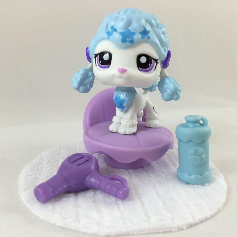 Littlest Pet Shop Cute White Blue Poodle 1965 W Chair