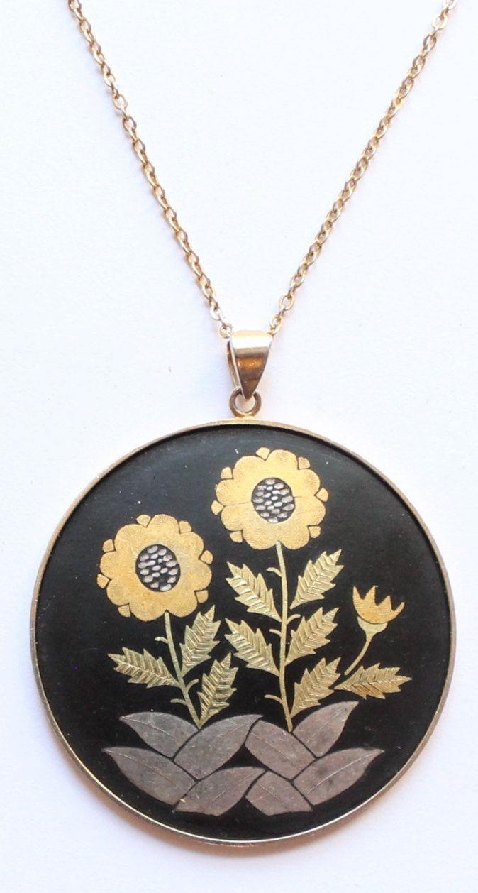 Amita Japan Signed Damascene Flower Floral Pendant Necklace by paststore on Etsy