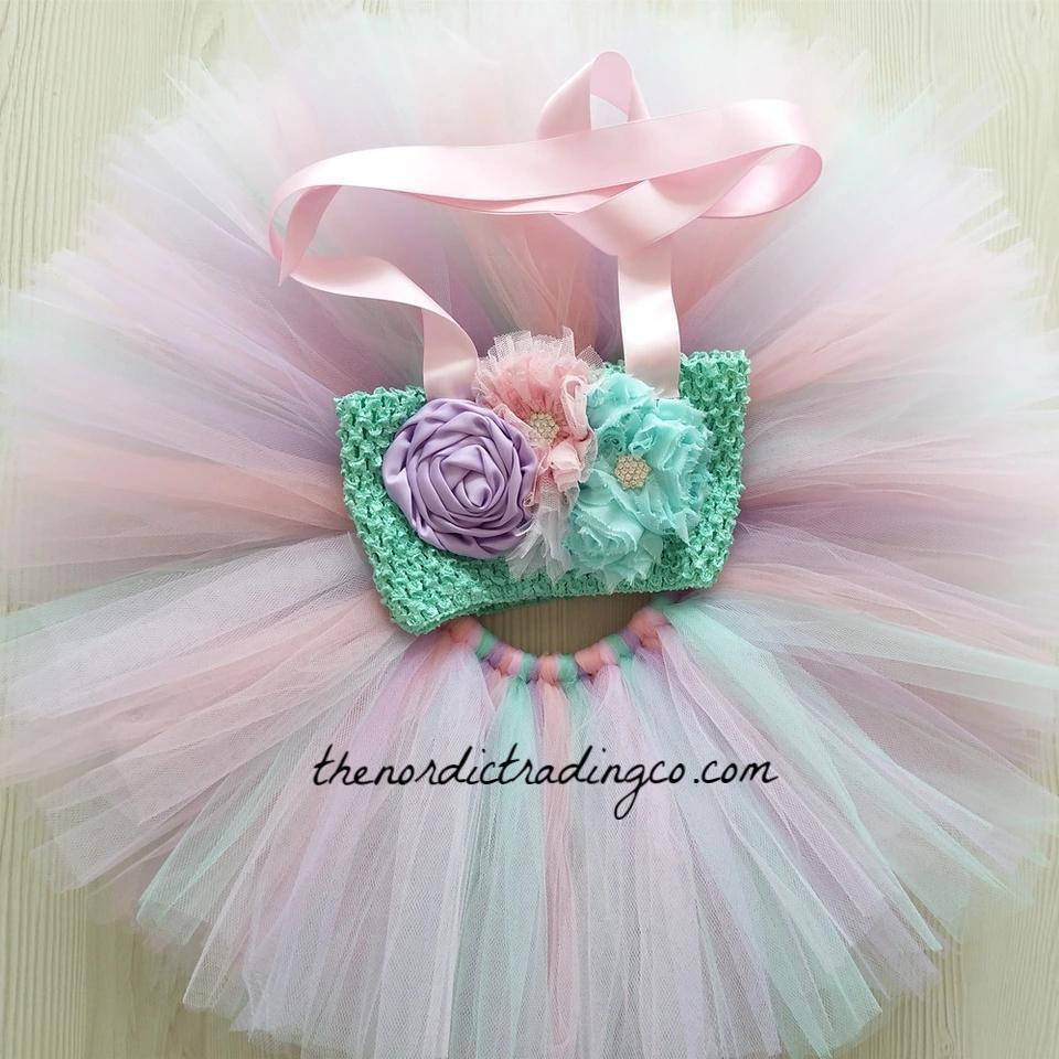 Newborn Baby Girls Birthday Mermaid Romper Floral Tutu Skirt Dress Bloomers Set
