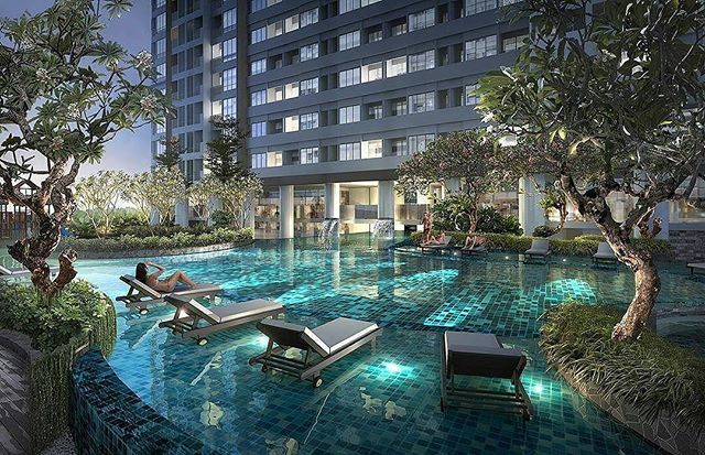 Render By Kunkun3dviz Apartment Pool Night View 2016