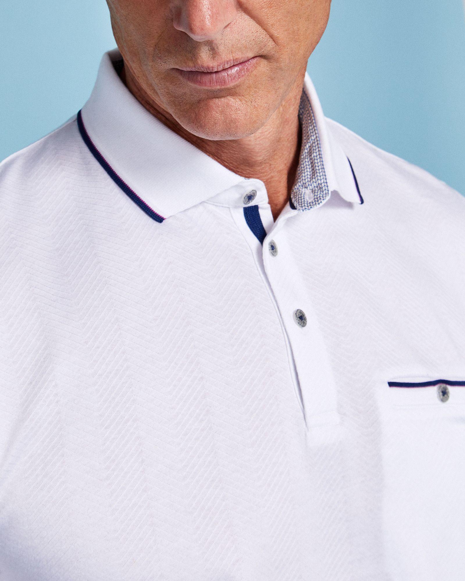 Herringbone jacquard cotton polo shirt white tops and tshirts