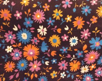 """Vintage 40s Floral Flower Cotton Quilting Craft Doll Fabric 1"""" less than 1 yd x 40"""""""