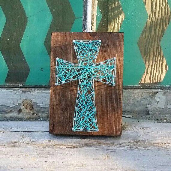 Small String Art Cross, Nail Art Cross, Teal Blue String Art, Small ...