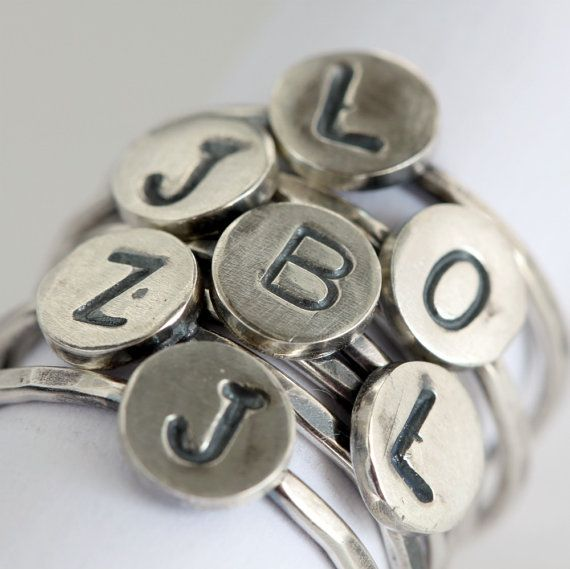 Silver Personalized Monogram Ring