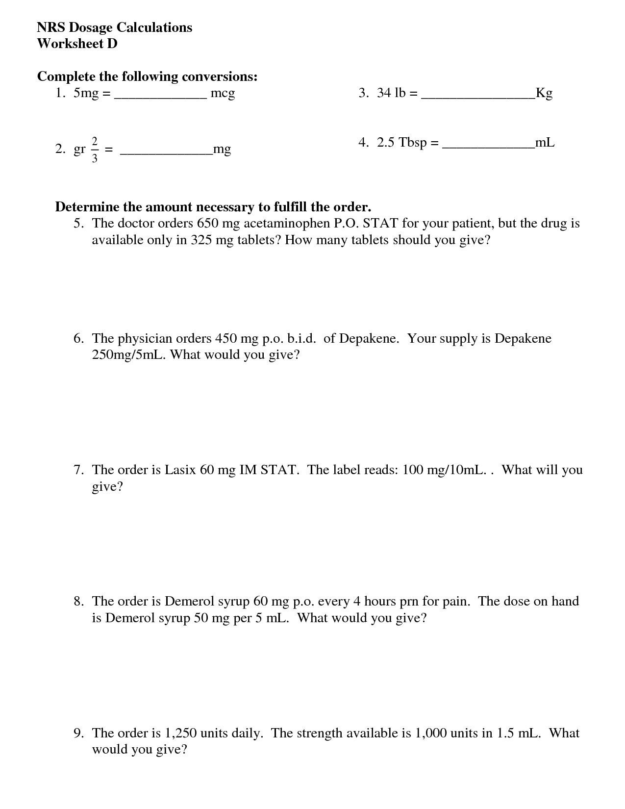 16 Best Images Of Nursing Math Worksheets Nursing Dosage