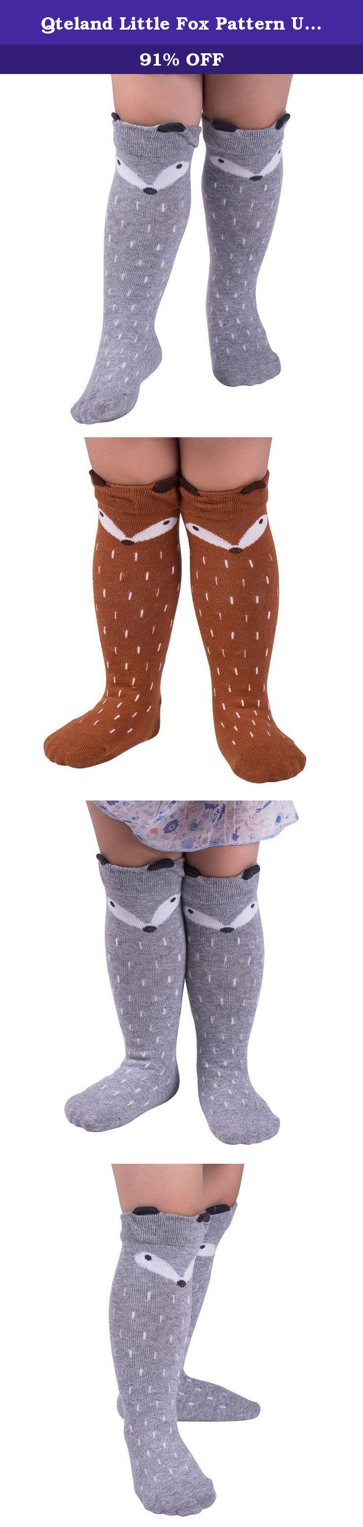 Qteland Little Fox Pattern Unisex-baby Knee High Socks Tube socks for Kids 2-pack (M(1-3 years), Mix). Qteland Cotton high knee socks for Babies are an adorable and fashion item dress up your little one. Look for all of our adorable high knee socks! Available in stripes, Geometry,fox,cat,Mickey Mouse,bear, rabbit and so on. A material composition for comfort these socks are made of 75% cotton, 20% polyester, and 5% spandex for a snug, comfortable fit. Three size for your choose Size S: 0-12...