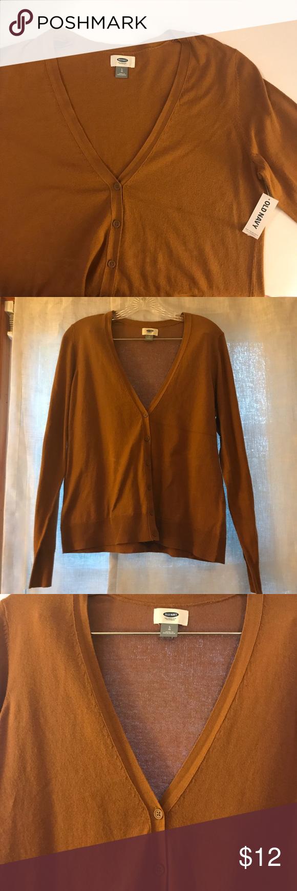 Tan / brown button down lightweight cardigan Dark tan / light ...
