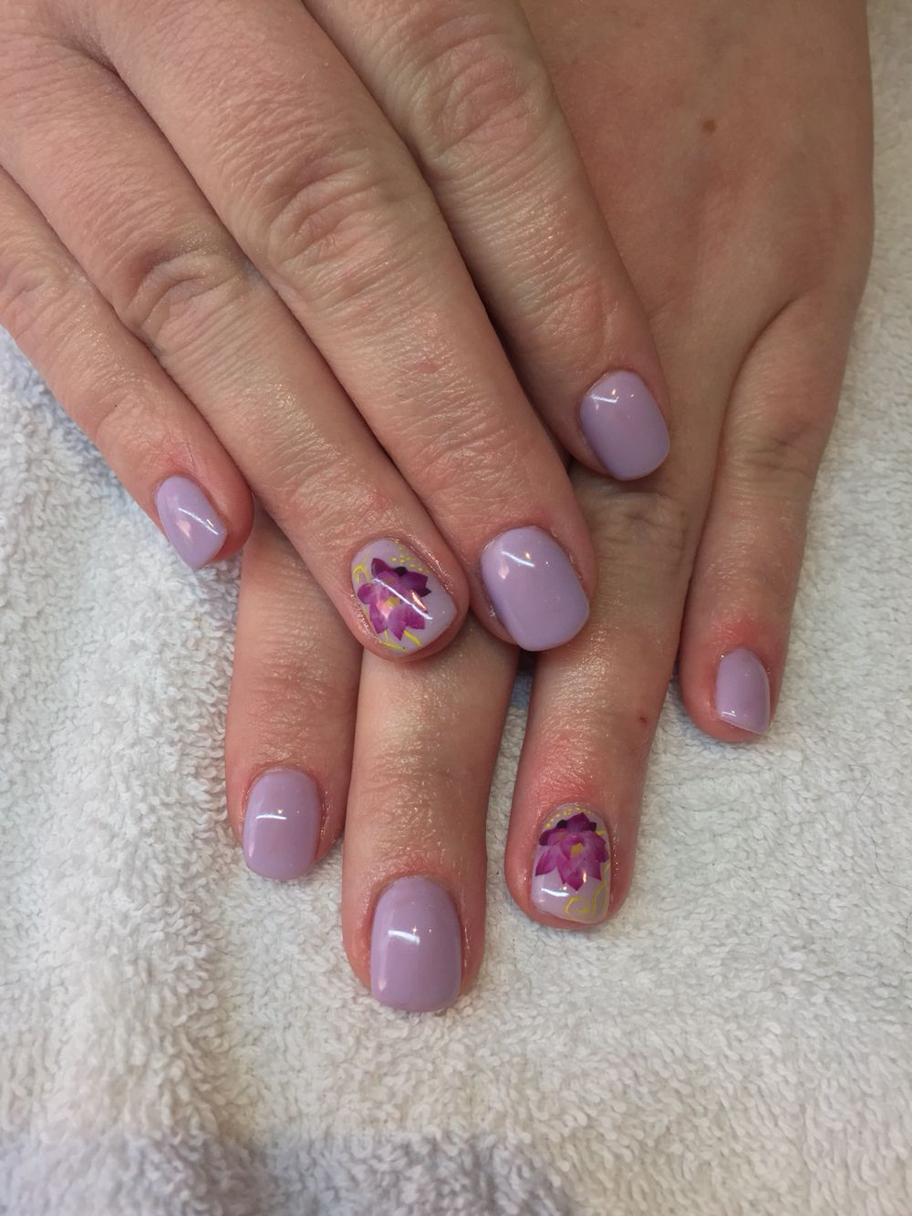 Acrylic nails in pastel purple with water decal nail art   My work ...