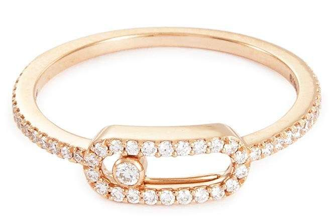 Messika 'Move Uno' diamond 18k rose gold ring #rose#polished
