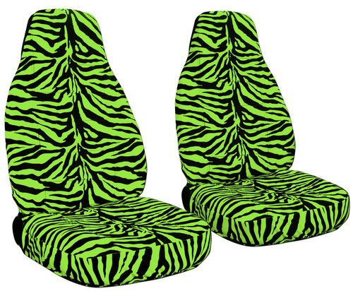 Snazzy Green Zebra Print Seat Covers