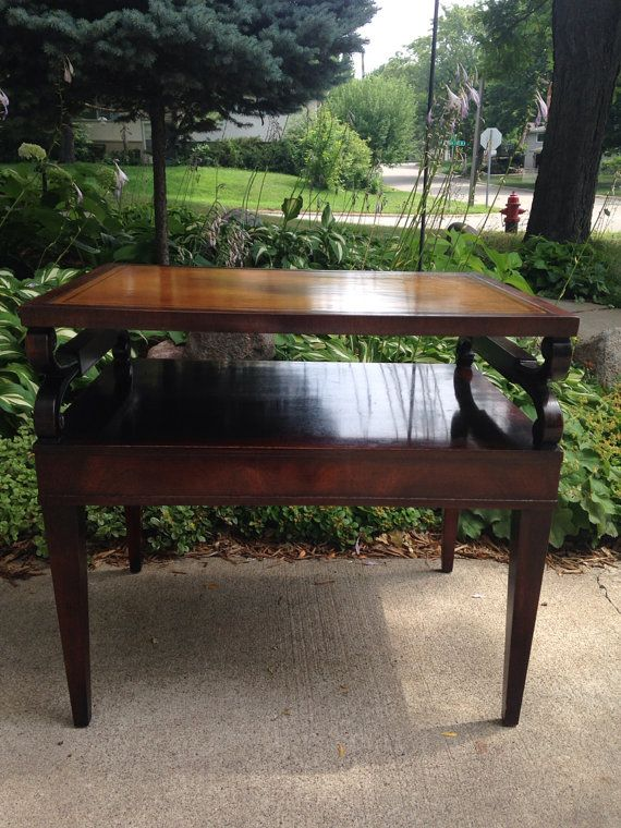 Retro Leather Top Living Room Side Table ~ Mahogany Leather Top End Table ~  Vintage ~ Part 75