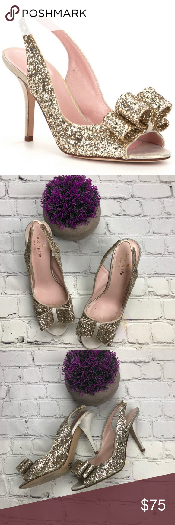 2 inches shimmery suede heel, padded leather lining    Slight signs of wear as depicted in photos    Th is part of Fashion -