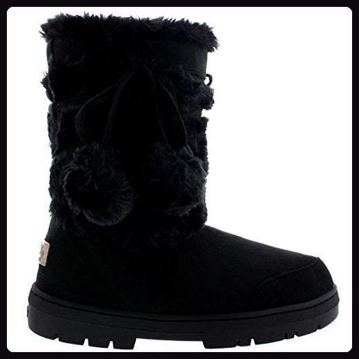 Regen Fell Fur Schuhe Schnee Winter Damen Pom Stiefel 4q3A5RLj