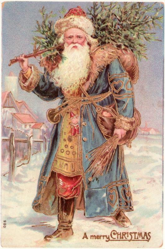 "Vintage illustrated Christmas postcard with Santa carrying a Christmas tree ""A merry CHRISTMAS"". Previous pinner said Victorian era..."
