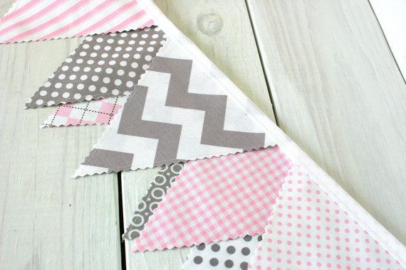 Bunting Fabric Banner Flags Nursery Decor Wedding Photography Prop Pink And Gray Chevron Gingham Ready To Ship
