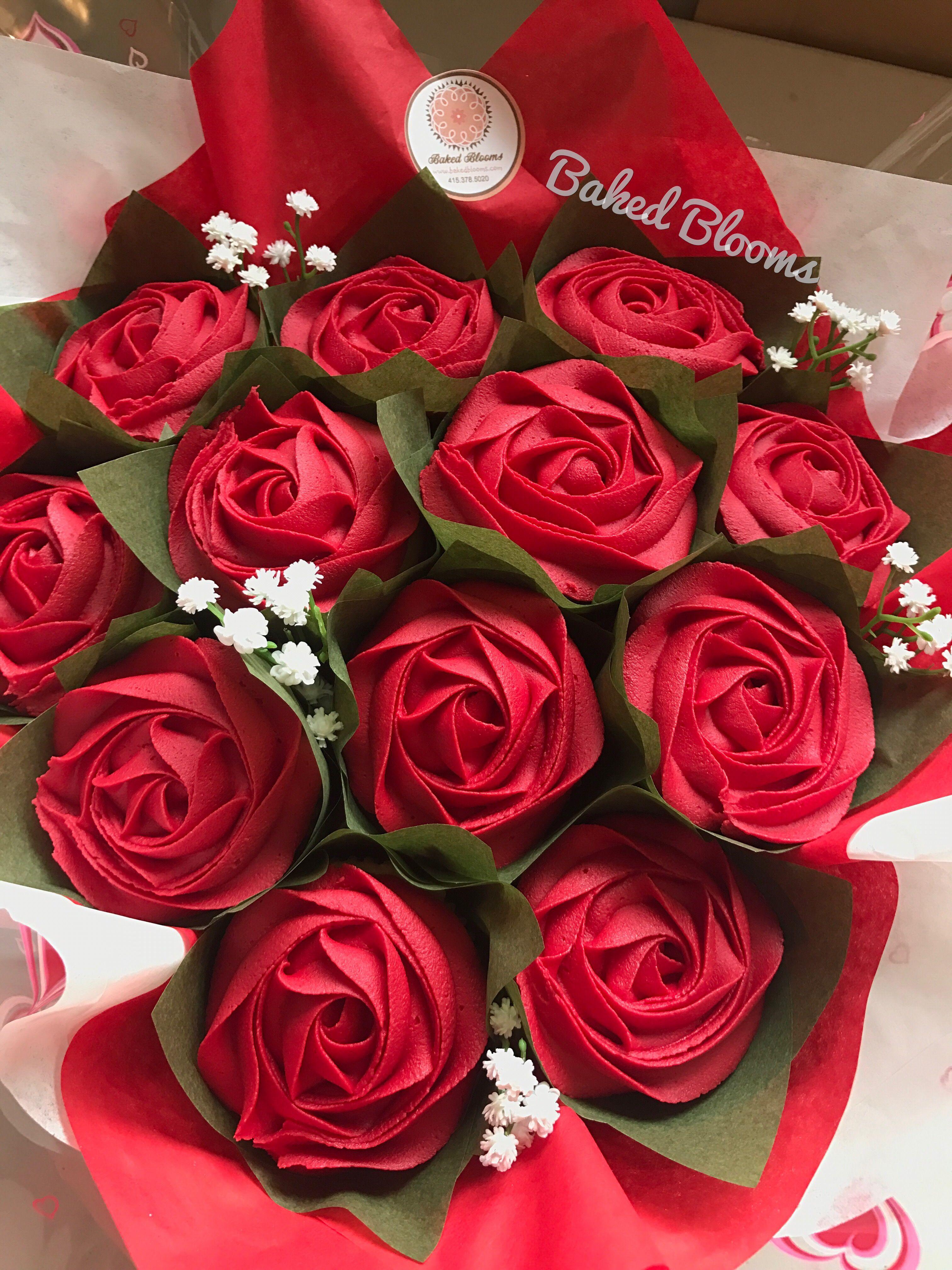 Bouquet of a dozen red rose cupcakes bakedblooms cake bouquet of a dozen red rose cupcakes bakedblooms izmirmasajfo