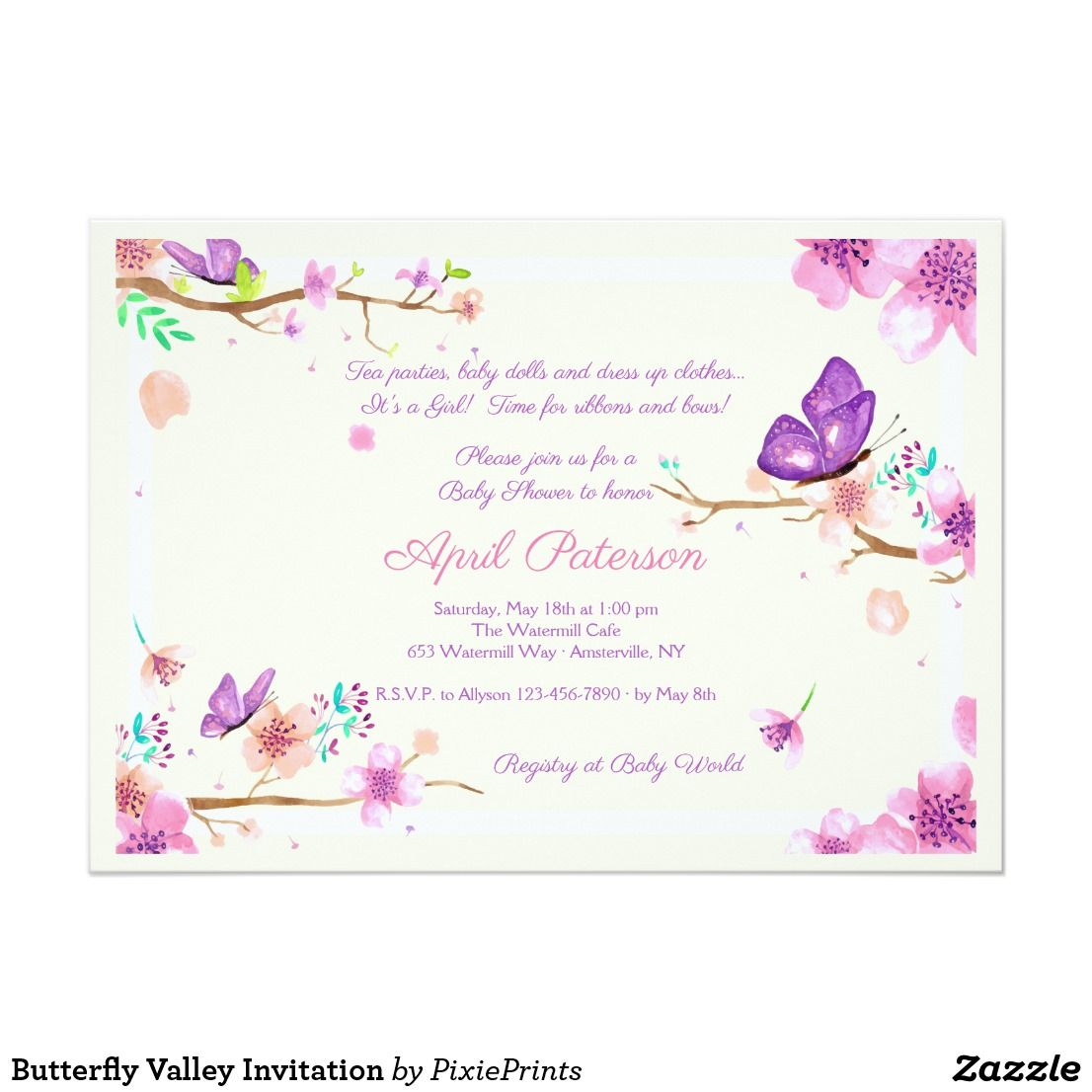 Butterfly Valley Invitation In 2018 Babies And Baby Showers