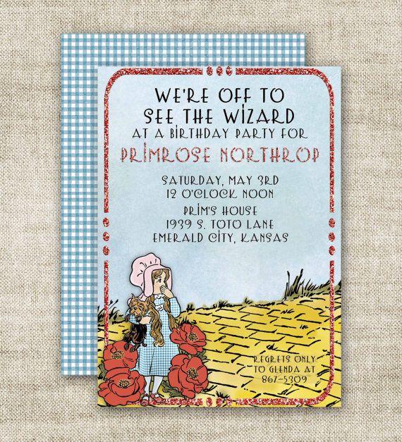 Wizard Of Oz Birthday Party Invitations Ruby Slipper Custom