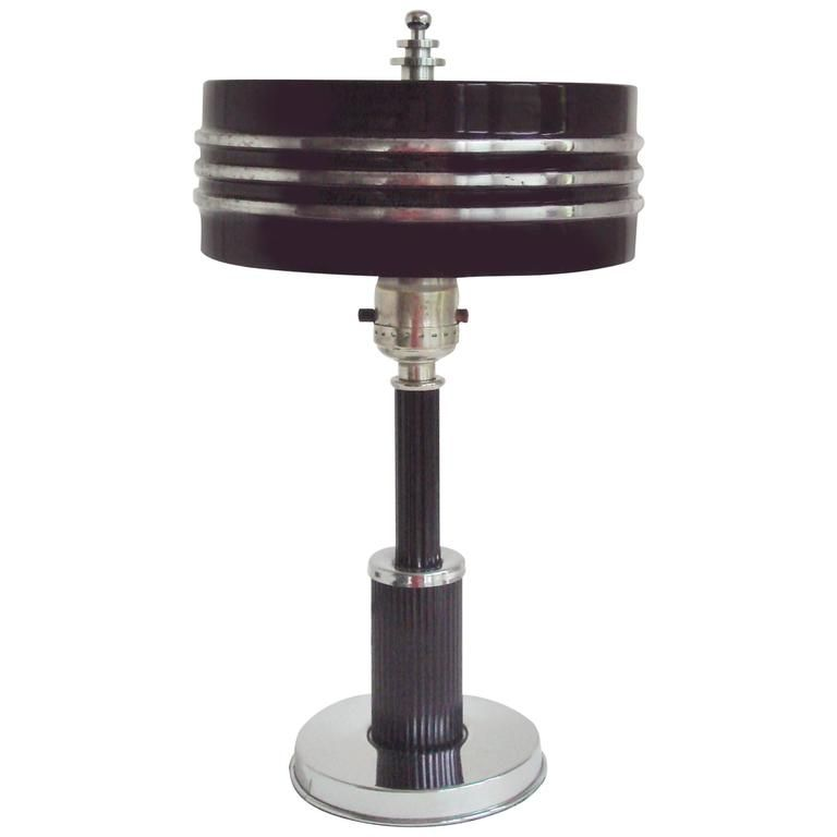 Charming Rare American Art Deco Chrome And Black Drum Shade Table Lamp By Markel