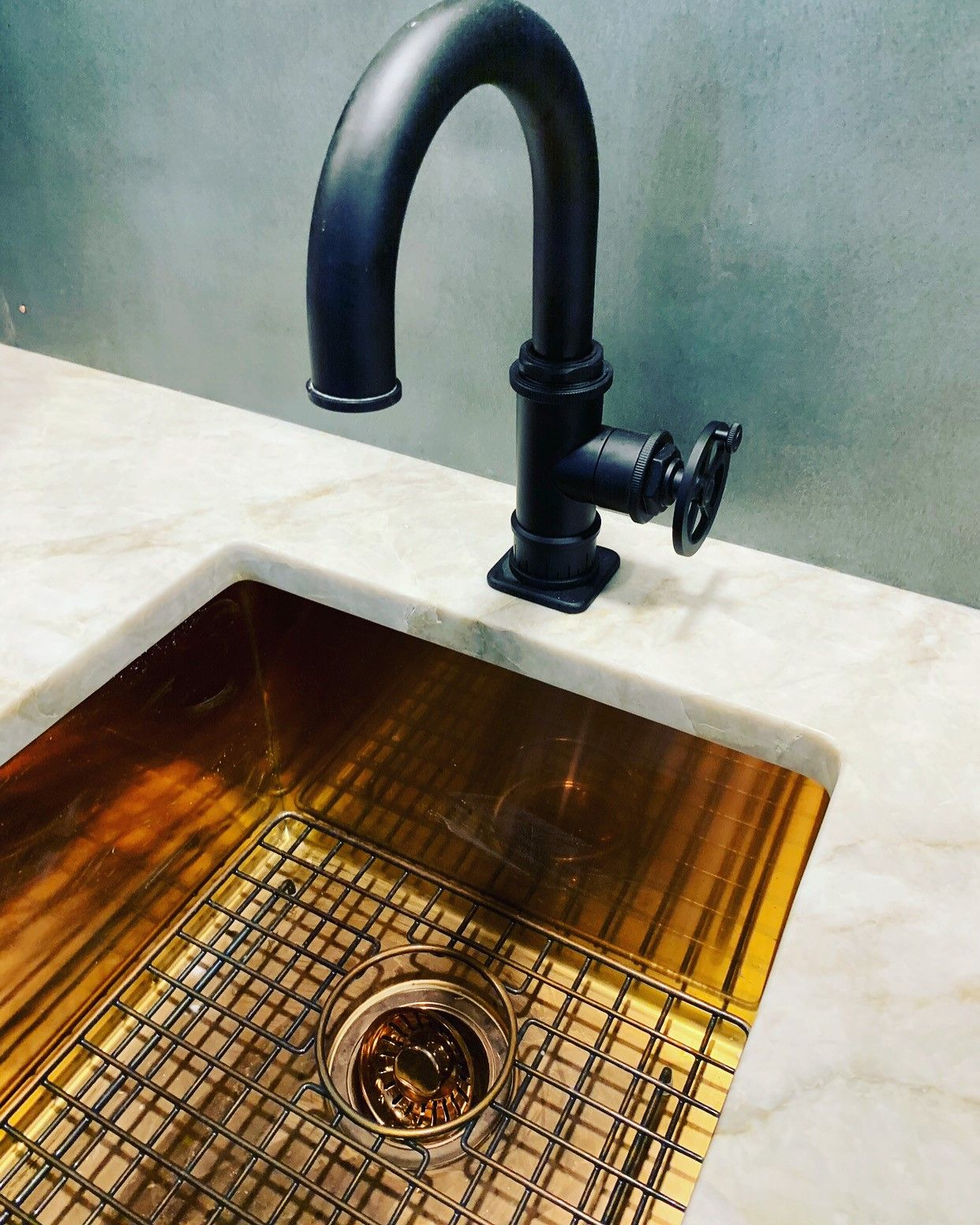 This Industrial Faucet Really Is A Showstopper Industrial Faucet Faucet Bar Sink [ 1552 x 1242 Pixel ]