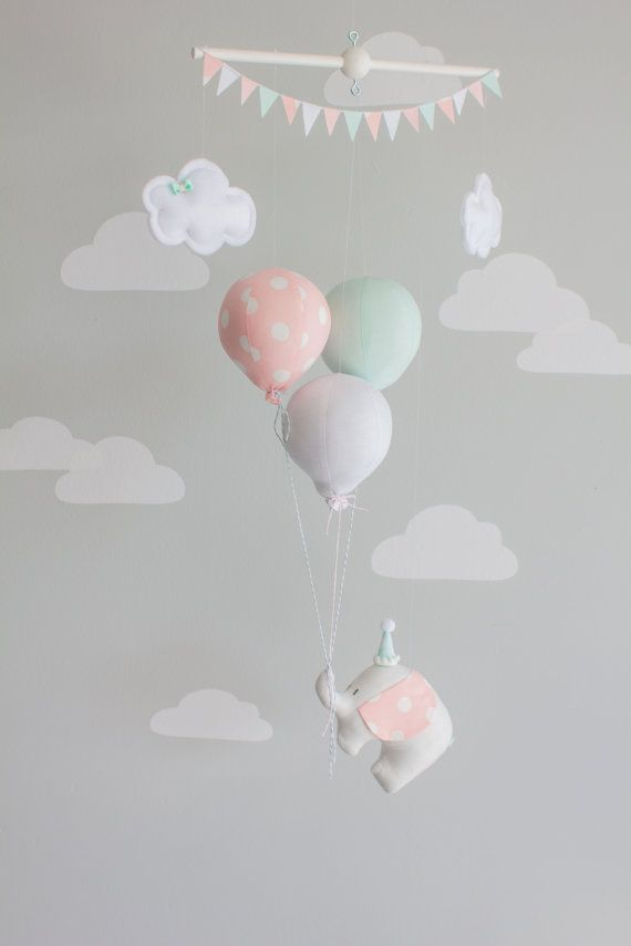 elephant and balloon baby mobile travel theme nursery d cor mint pink and gray i118 baby. Black Bedroom Furniture Sets. Home Design Ideas