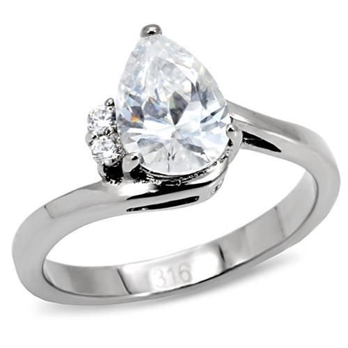 Stainless Steel Bezel-Set Oval Engagement Ring with Clear CZ