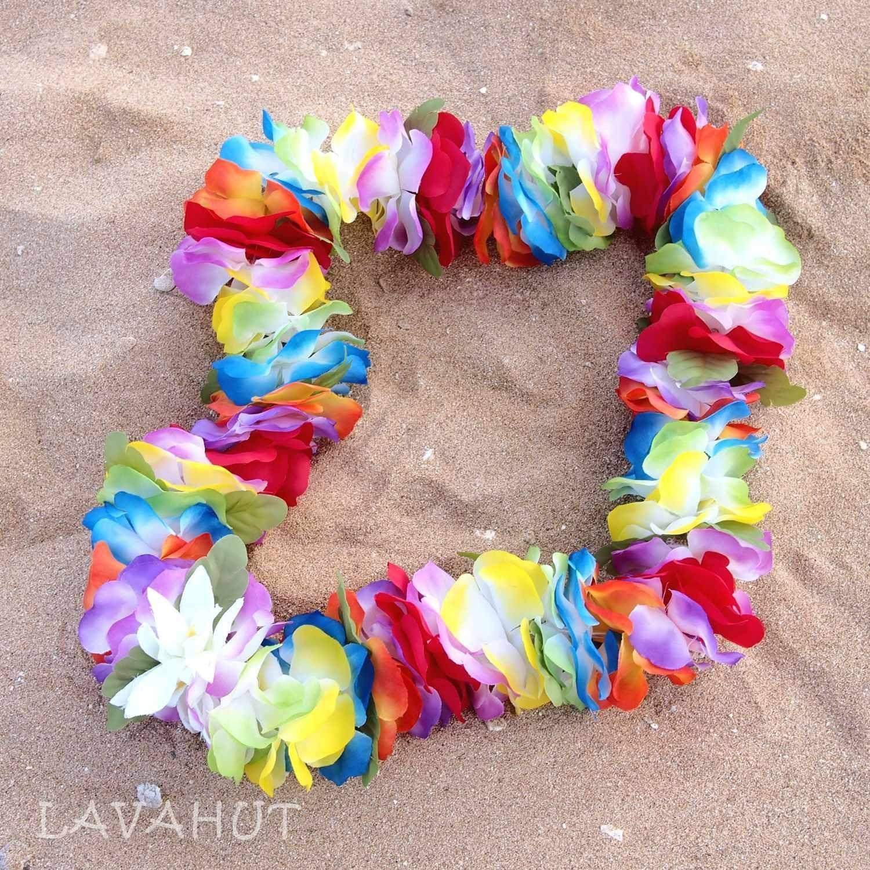 Rainbow Hawaiian Flower Lei Flower Lei Hawaiian Flowers And Products