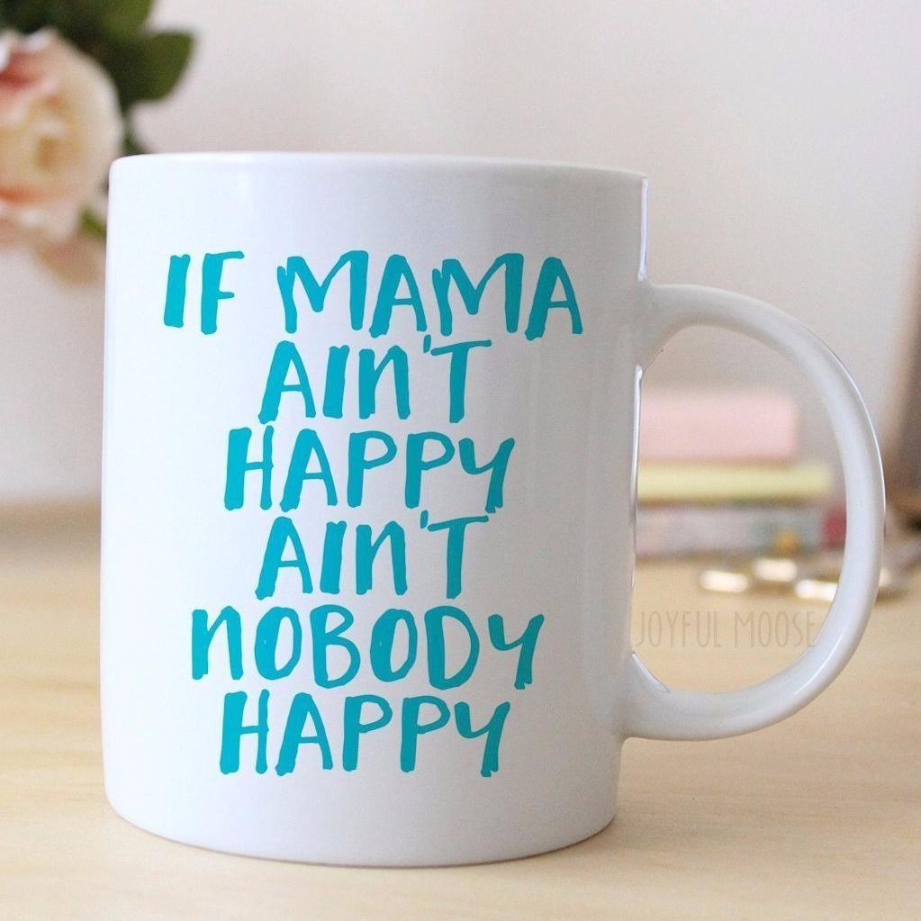 Turquoise Coffee Mug  Motherus Day Gift for Wife  Mama Ainut Happy