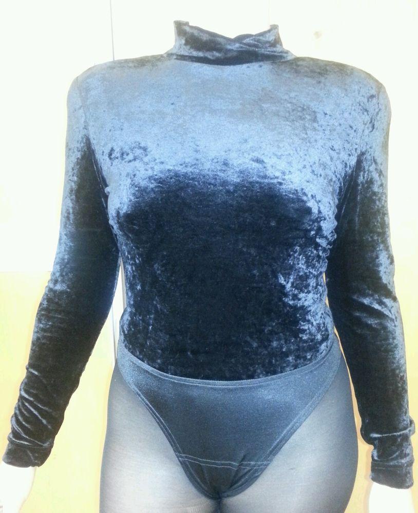 Vintage Tadashi Black Velvet Bodysuit Long Sleeve - Great condition #Tadashi #Bodysuit #EveningOccasion