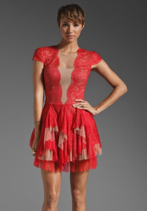 Red cocktail dress bcbg