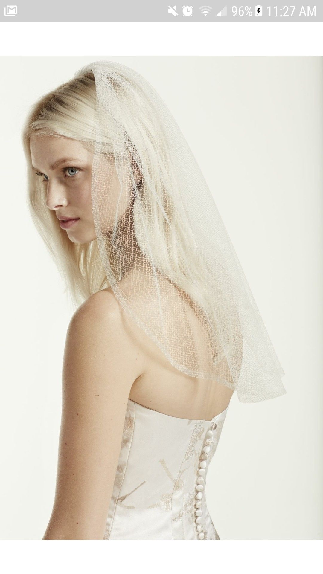 Shoulder Length Geometric Tulle Bridal Veil by White by Vera Wang ...