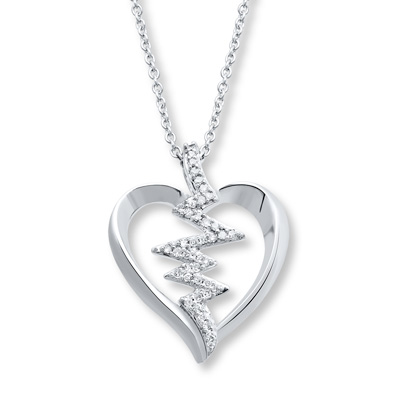 Heartbeat Necklace 1 10 Ct Tw Diamonds Sterling Silver 173643305 Kay Heartbeat Necklace Silver Heart Necklace Necklace