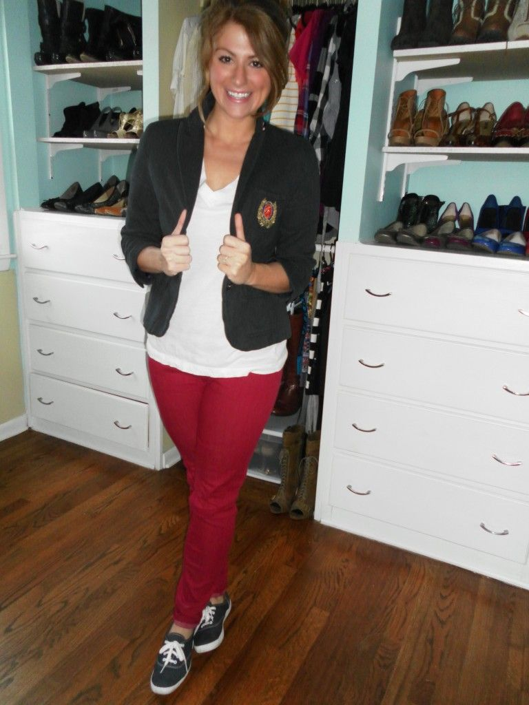 ...blazer, simple tee, saturated denim. Oh, and your Keds from 1990. :)