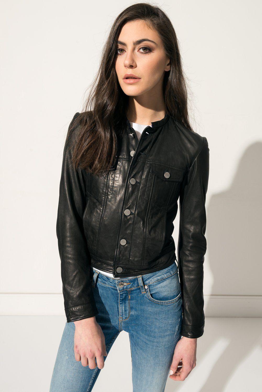 Kenzie black leather jacket kenzie veste en cuir noir