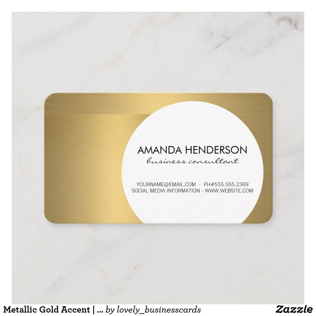 Metallic Gold Accent Metallic Brushed Business Card Zazzle Com In 2020 Interior Designer Business Card Professional Business Cards Printing Double Sided