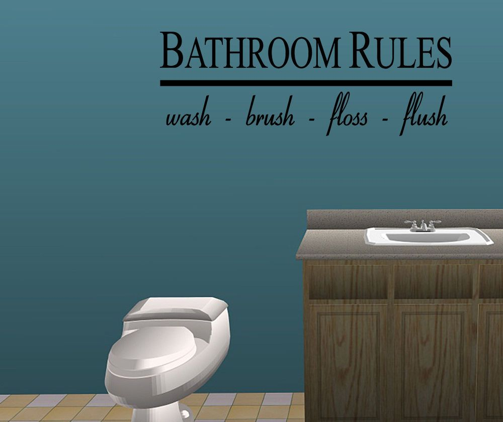 Vinylwallquotes bathroom rules vinyl wall quote sticker art