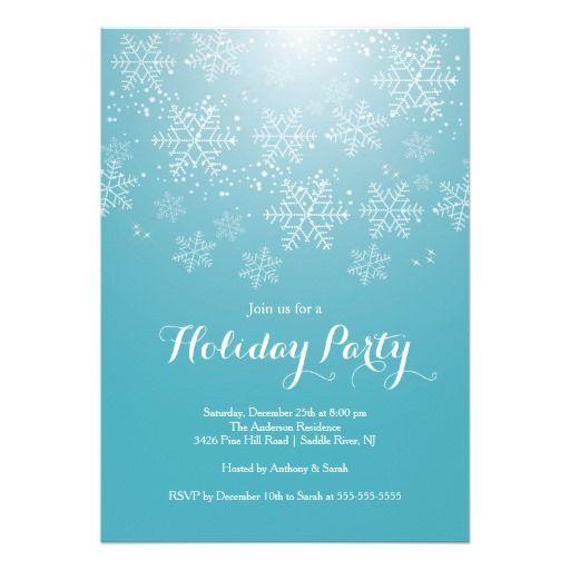 Modern White snowflakes set on a dark blue background christmas – Snowflake Party Invitations