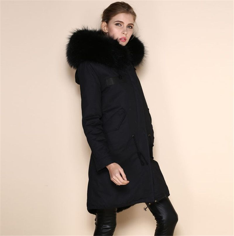 Fashion Faux Cool black fur parkas women neutral parka 2016 winter ...