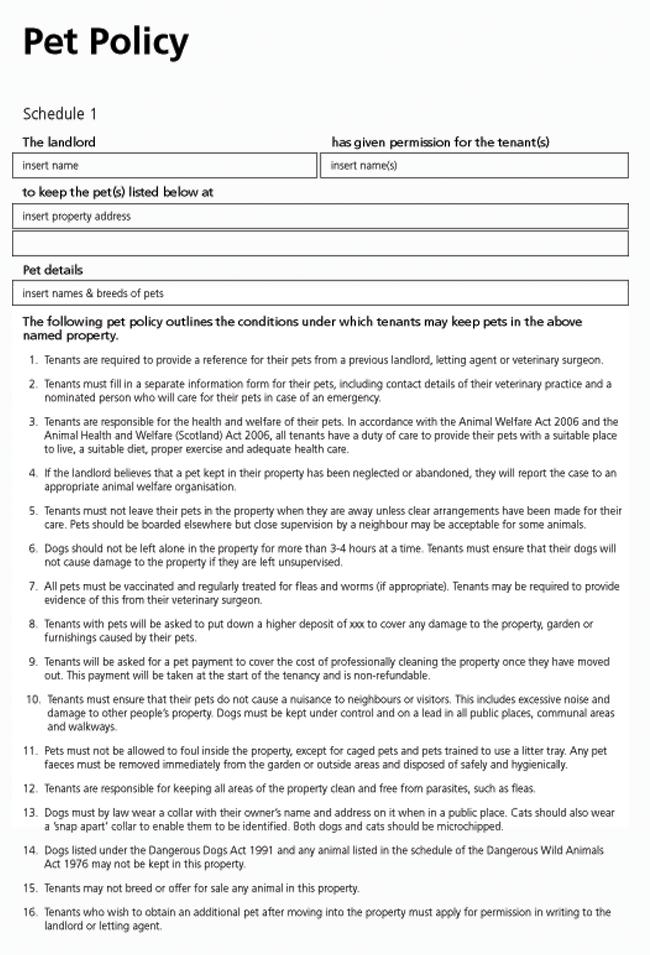 Pet Policy Schedule Tenancy Agreement Being A Landlord Rental