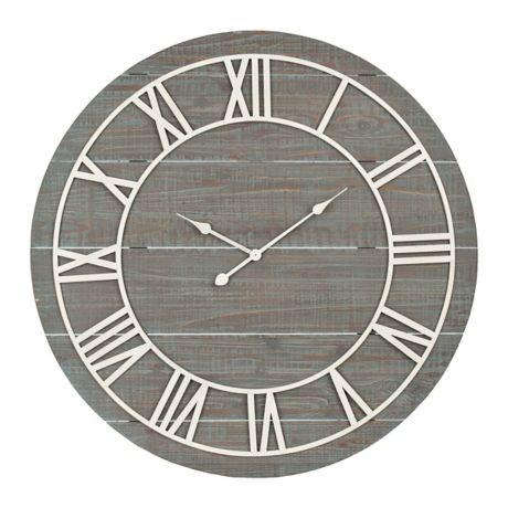 Ava Vintage Blue Wood Wall Clock Kirklands Wood Wall Clock Clock Wall Clock