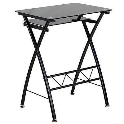 Best Computer Desk Stand Laptop Table Black Tempered Glass Pull