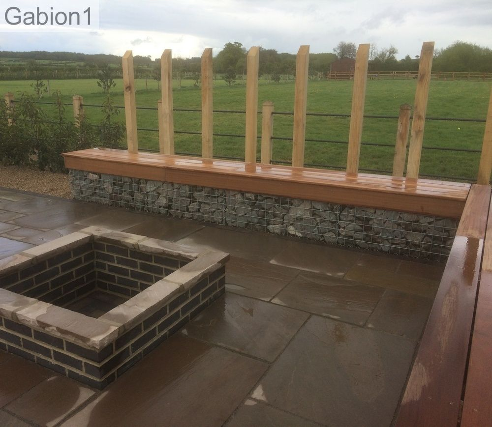 Timber Outdoor Living: Timber Seating On A Gabion Wall, Http://www.gabion1.co.uk
